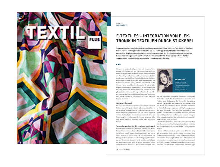 Fachartikel von Melanie Hoerr, Manager Technical Embroidery Applications, ZSK STICKMASCHINEN