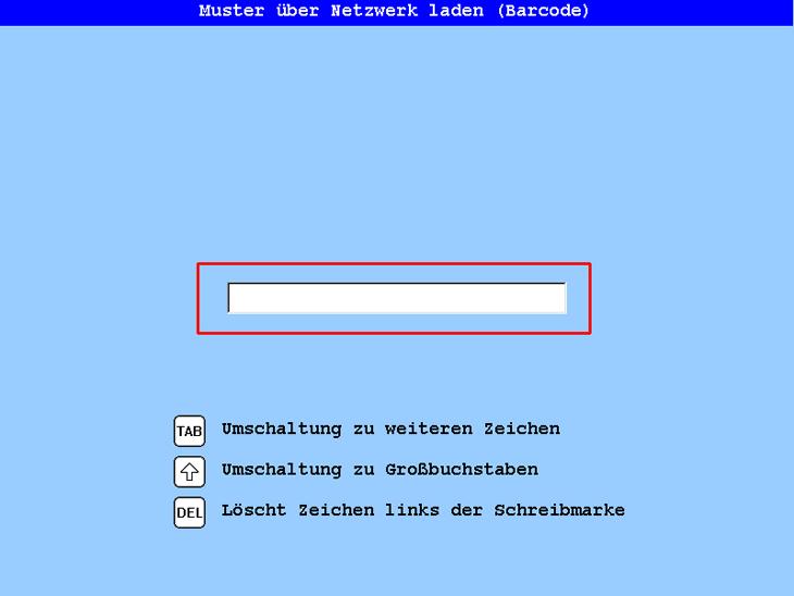 Laden eines Stickdesigns über das Netzwerk mit Barcode