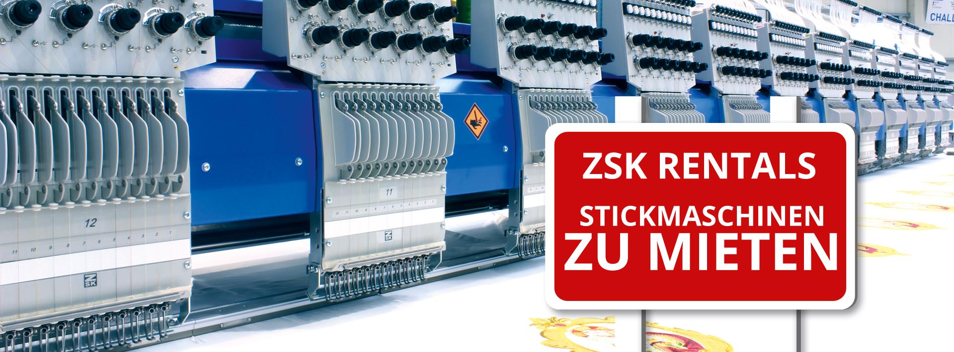 ZSK Stickmaschinen leihen mit ZSK Rentals
